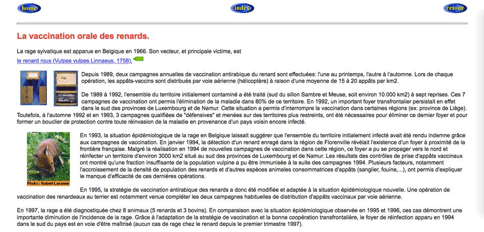Page du site Web du Service de la Rage de l'Institut Pasteur de Bruxelles (1997)